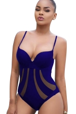 Womens Sexy Fishnet Patchwork Sheer Straps Monokini Sapphire Blue