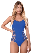 Womens Sexy Straps Hollow Out Waist Strings One-piece Swimsuit Blue