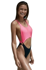 Womens Sexy Contrast Color Cut Out One Piece Monokini Pink