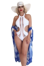 Womens Sexy Halter See Through Patchwork Monokini White