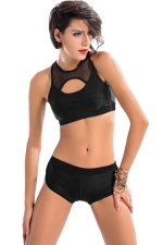 Womens Sexy Mesh Patchwork Cut Out Two Pieces Swimsuit Black