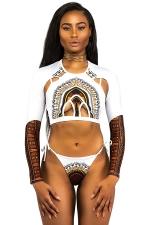 Womens Sexy Printed Crew Neck Zipper Long Sleeve Cut Out Bikini White