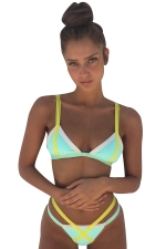 Womens Sexy Contrast Colors Halter Top&Strings Bottom Bikini Green