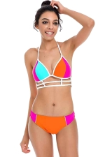 Womens Sexy Halter Strings Two Pieces Bikini Orange