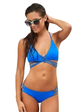 Womens Sexy Plain Cross Strings Hollow Out Bikini Set Blue