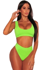 Womens Sexy Sports Styles High Waist Unpadded Bikini Set Green