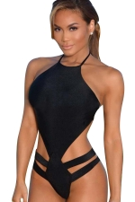 Womens Sexy Halter Open Back Cut Out One Piece Monokini Black