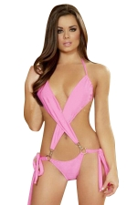 Womens Sexy Halter Cross Bandage Backless Monokini Pink