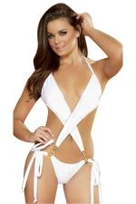 Womens Sexy Halter Cross Bandage Backless Monokini White