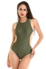 Womens Sexy Open Back Stripes Padded One Piece Swimwear Army Green