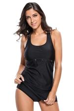 Womens Conservative Racerback Tankini 2Pcs Skirt Swimsuit Black