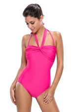Womens Sexy Double Halterneck Ruched One Piece Swimsuit Navy Rose Red