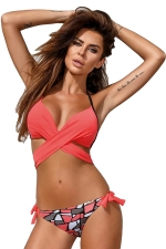 Womens Halter Cross Bandage Top&Printed Bottom 2Pcs Bikini Red