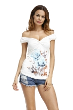 Womens Casual Printed Cross Slimming T-Shirt Light Blue