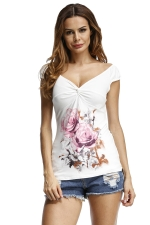 Womens Casual Printed Cross Slimming T-Shirt Pink