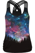 Womens Sexy Galaxy Printed Cross Strings Camisole Top Blue