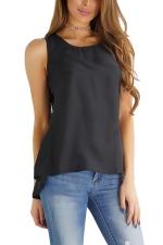 Womens Casaul Plain High Low Zipper Sleeveless Camisole Top Black
