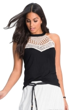 Womens Sleeveless Halter Lace Patchwork Camisole Top Black