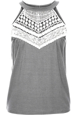 Womens Sleeveless Halter Lace Patchwork Camisole Top Gray