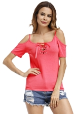 Womens Lace-Up Straps Cold Shoulder T-Shirt Watermelon Red