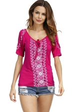 Womens Cold Shoulder Lacing Printed T-Shirt Rose Red