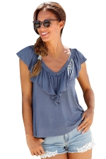 Womens Casual Plain V-Neck Ruffle T-Shirt Blue