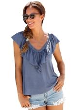 Womens Casual Plain V-Neck Ruffle T-Shirt Blue