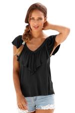 Womens Casual Plain V-Neck Ruffle T-Shirt Black