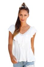 Womens Casual Plain V-Neck Ruffle T-Shirt White