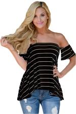 Womens Sexy Striped Short Sleeve Off Shoulder T-Shirt Black