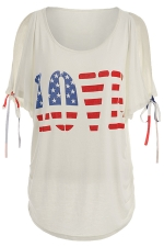 Womens Casual Bow Sleeve Flag Letter Printed T-Shirt White