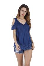 Womens Casual V-Neck Hem Patchwork Cold Shoulder T-Shirt Blue