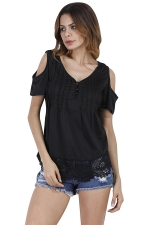 Womens Casual V-Neck Hem Patchwork Cold Shoulder T-Shirt Black