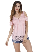 Womens Casual V-Neck Hem Patchwork Cold Shoulder T-Shirt Pink