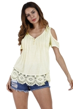 Womens Casual V-Neck Hem Patchwork Cold Shoulder T-Shirt Yellow