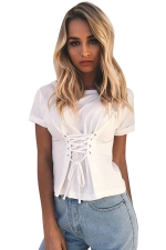 Womens Casual Crew Neck Crisscross Strings T-Shirt White