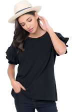 Womens Casual Flare Short Sleeve Crew Neck T-Shirt Black