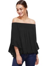 Womens Off Shoulder Elastic Flare Sleeve T-Shirt Black