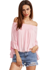 Womens Off Shoulder Elastic Flare Sleeve T-Shirt Pink