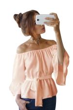 Womens Off Shoulder Bandage Flare Sleeve Blouse Orange