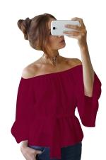 Womens Off Shoulder Bandage Flare Sleeve Blouse Ruby