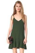 Women Sexy V Neck Straps Ruffled Hem Lacing Smock Dress Army Green