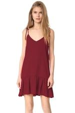 Women Sexy V Neck Straps Ruffled Hem Lacing Smock Dress Ruby