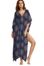 Women Fashion Lace-Up Neck Printed Side Slits Maxi Dress Navy Blue