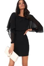 Women Ruffle Chiffon Patchwork Long Sleeve Bodycon Dress Black