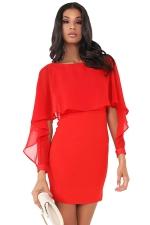 Women Ruffle Chiffon Patchwork Long Sleeve Bodycon Dress Red