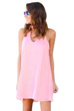 Women Plain Halter Sleeveless Cut Out Smock Dress Pink