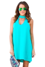 Women Plain Halter Sleeveless Cut Out Smock Dress Turquoise