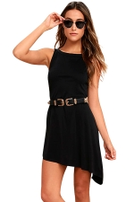 Women Casual Crew Neck Sleeveless Irregular Hem Dress Black