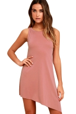 Women Casual Crew Neck Sleeveless Irregular Hem Dress Pink